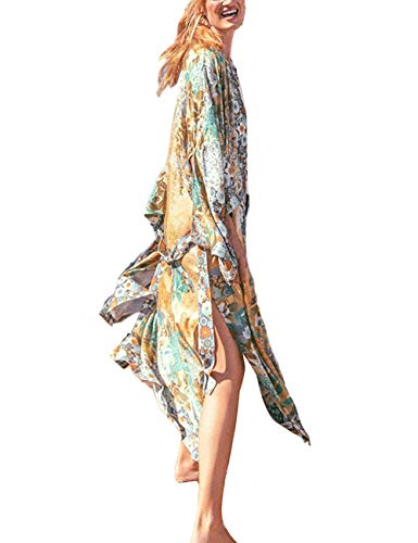 RanRui Kimono Swimsuit Cover-up. Floral Print Short Sleeve Loose Open Front Cotton Even Kimonos (3402)