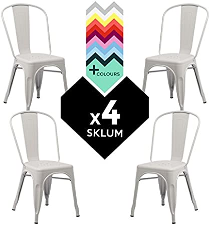 SKLUM Silla TOLIX (Pack 4) - Silla Industrial Metálica Blanco - (Elige Color): Amazon.es: Hogar