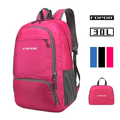 (Foldable Lightweight Hiking Daypack Backpack - 30L Water Resistant Knapsack with Pouch for Women&Men - Waterproof Folding Rucksack for Outdoor Travel Camping Trekking Mountain (Rose Red 30L))