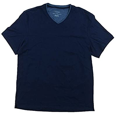 Calvin Klein Mens V-Neck Lifestyle T-Shirt, Blue, Medium