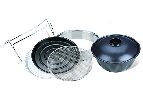 Oyama Turbo Oven Accessory Deluxe Package with Extender Ring, Bundt Cake Pan, Stainless wire mesh, Steamer pan, Grill pan, and Turbo lid stand ()