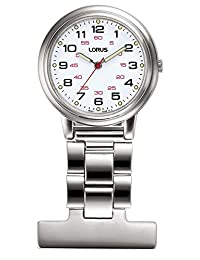 Lorus Stainless Steel White Dial Nurse Fob Watch