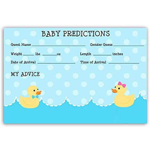 Predictions Card, Baby Shower, Waddle It Be, Baby Predictions, Gender Reveal, Games, Party, Duck, Duckies, Rubber Ducky, Sprinkle, Polka Dot, 24 Pack of Baby Prediction Cards