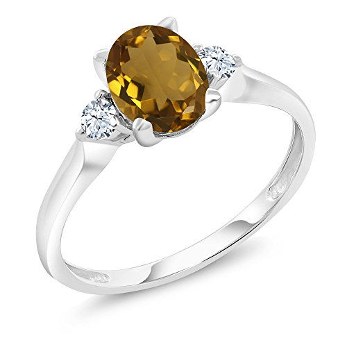 10K White Gold 1.10 Ct Whiskey Quartz White Created Sapphire 3-Stone Ring (Available in size 5,6,7,8,9)