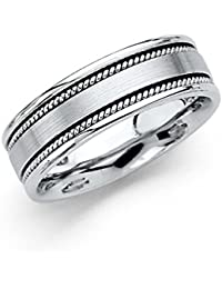 14k White Gold Polished Satin 6MM Rope Design Comfort Fit Wedding Band Ring