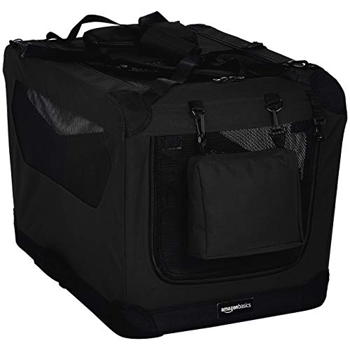 (AmazonBasics Premium Folding Portable Soft Pet Dog Crate Carrier Kennel - 26 x 18 x 18 Inches, Black)