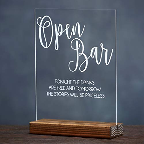 Open Bar Funny Wedding Reception Table Decor Sign Stand with Wooden Base]()