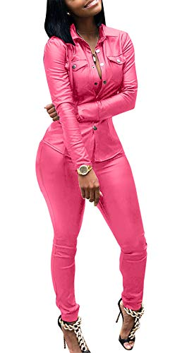 2 Outfit Pink Piece (Womens Sexy 2 Pieces Outfits PU Leather Bodycon Long Sleeve Jacket Top and High Waist Long Pants Jumpsuits Set Pink S)