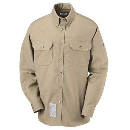 Flame Resistant Apparel (Bulwark Flame Resistant 7 oz Cotton/Nylon ComforTouch Tailored Sleeve Uniform Shirt, Khaki, 3X-Large)