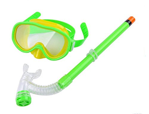 Swimming Goggles Snorkel Mask with Anti-fog Silicone Set (Green) - 3