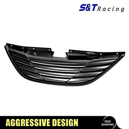 Grille Fits 2011-2014 Hyundai Sonata 2012 2013 YF Front Black Grille Grill Horizon ABS Horizontal Style by IKON MOTORSPORTS