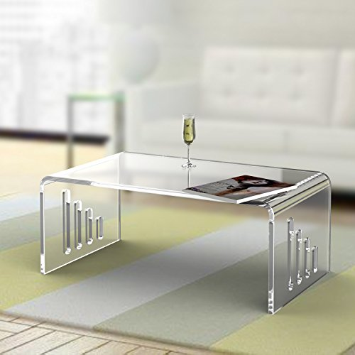 Clear Lucite Cocktail U Table,Acrylic Coffee Tea Living Tables,End Occasional Waterfall Desk ONE LUX (Deco Occasional Tables)