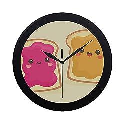Modern Simple Toast Bread Cute Cartoon Breakfast Wall Clock Indoor Movement Wall Clcok for Office,Bathroom,livingroom Decorative 9.65 Inch