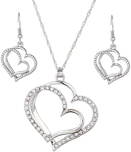 Ladies Love Necklace Earrings Set Silver Plated Pendant arringsCubic Zirconia Inlaid Love Necklace Earrings Perfect Accessories for omens Dresses Perfect Valentines Day Gifts for Wife and Girlfriend