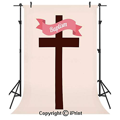 Baptism Photography Backdrops,Baptism Message on Ribbon Cross at The Back Christening Church Event Design,Birthday Party Seamless Photo Studio Booth Background Banner 5x7ft,Cream Chesnut Brown -