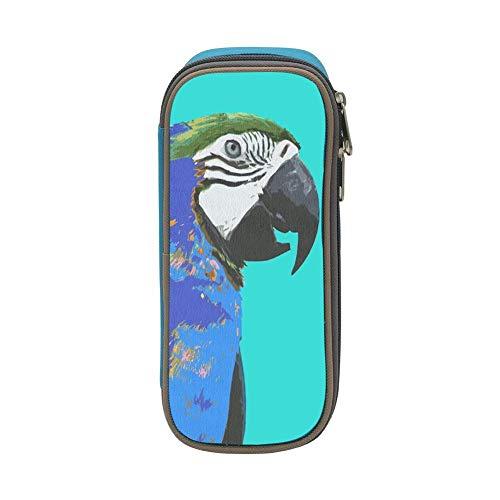 MAOXIANDER Student Blue Parrot Big Capacity Homecube Pencil Case Stationery Pouch Pen Bag Blue