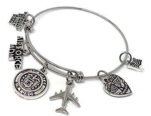 Patriotic Gift US Air Force Bracelet Air Force Mom Adjustable Bangle