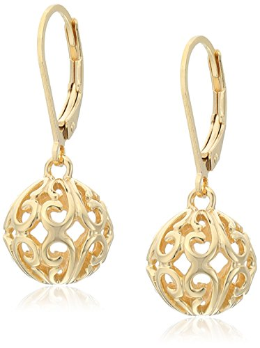 18k Yellow Gold Plated Sterling Silver Filigree Ball Dangle Lever Back Earrings