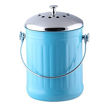 Kitchen Maestro 1 Gallon Counter Top Stainless Steel Compost Bin, 2 Odor Absorbing Filter Sets Included, + BONUS 50 Compost Bags included. (Blue)