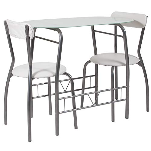 Flash Furniture Sutton 3 Piece Space-Saver Bistro Set with White Glass Top Table and White Vinyl Padded Chairs,