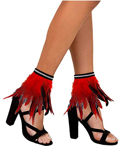L'VOW Gothic Feather Ankle Cuffs Foot Anklet Bracelet Armlet Armband Shrug Epaulet Halloween Accessories (Red)
