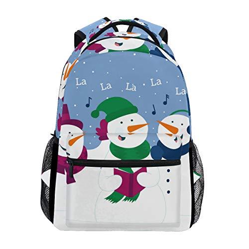 Cute Christmas Snowman Sing Songs School Backpack Large