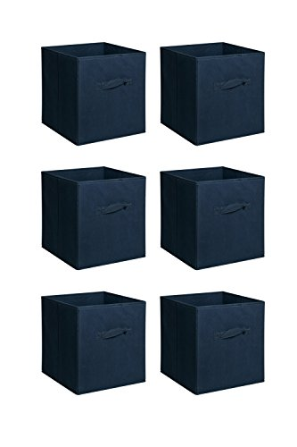 New Home Storage Bins Organizer Fabric Cube Boxes Shelf Basket Drawer Container Unit (6, Deep Blue)