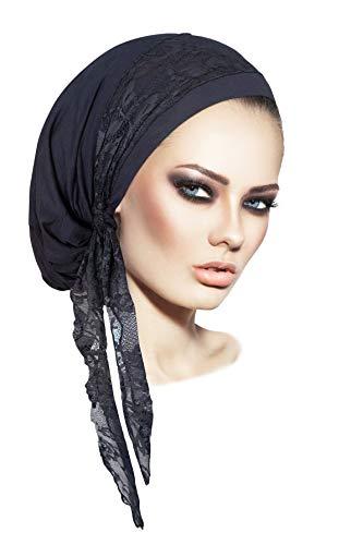 Dark Gray Pre-Tied Head-Scarf Soft Cotton Tichel Vintage Gray Floral Lace Wrap - 077