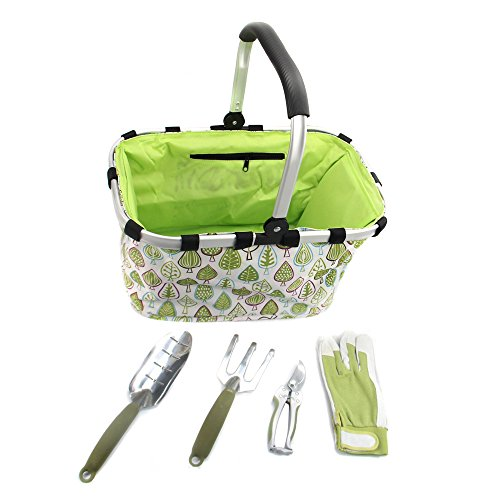 Easy Carry 5-Piece Gardening Tools Set & Tote Basket by Worth Garden | Professional Grade Trowel, Pruning Shears, Cultivator, Gloves and Tote Bag