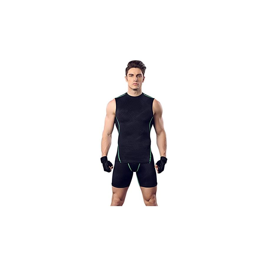 Smartcoco Quick Drying Tight Fitting Vest For Man Boxing Bodybuilding Running Training Black