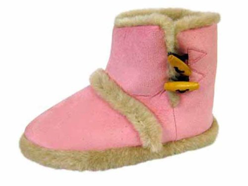 3 Furry 8 Slippers Girls Red Bootee Boot Ladies Toggle Ankle Coolers Sizes zHwqf