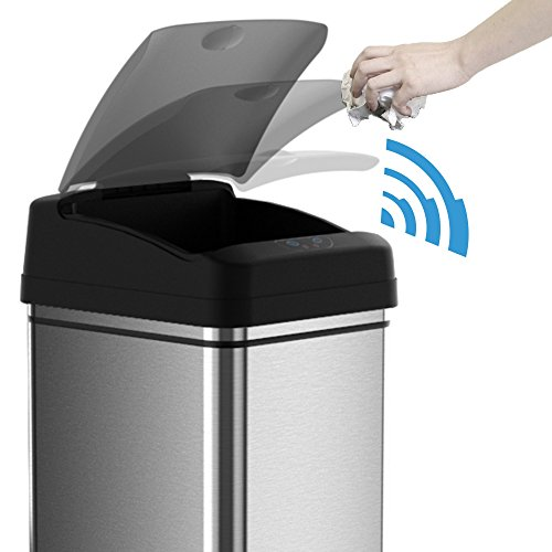 Large Product Image of iTouchless Stainless Steel Trash Can with AC Adapter, Touchless Sensor Lid and Odor Filter Deodorizer – Kitchen Trash Can - Office Trash Can -13 Gal / 49 L