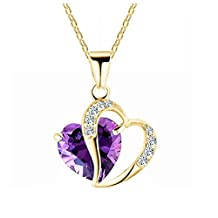 Bling Stars Swarovski Element Crystal Accent February Amethyst Birthstone Heart Pantand Necklace