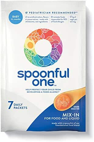 SpoonfulOne Baby Food Allergen Introduction Once-Daily Mix-Ins: 16 Food Proteins to Simply Help Protect Babies from Developing a Food Allergy. 7-Count Supply of Baby Food Add-in for Age 4+ Months