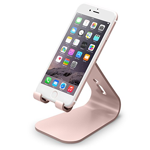 elago M2 Stand [Rose Gold] - [Premium Aluminum][Angled for Video Calls][Cable Management][Modern Design][Compatibility] - for All iPhones, Galaxy, and Other Smartphones