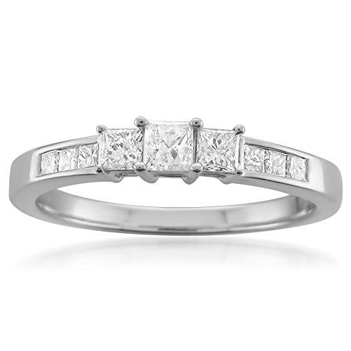 14k White Gold Princess-cut 3-Stone Three-Stone Diamond Engagement Wedding Ring (1/2 cttw, H-I, I1-I2), Size 8