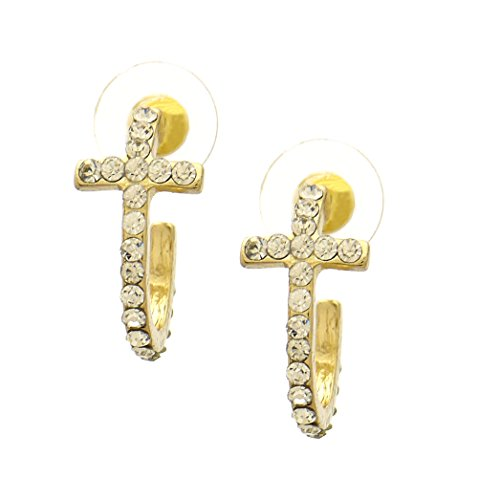 (Iced Small Cute Curved Crystal Cross Stud Button Post Earrings)