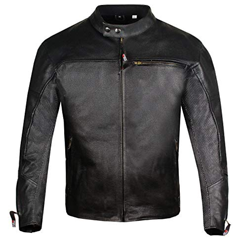(Men's Raider Ventilated Motorcycle Leather Street Cruiser Armor Biker Jacket XXL)