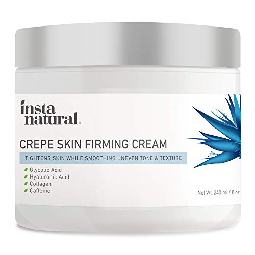 Anti-Aging Crepe Skin Firming Cream to Visibly Lift and Tighten Crepey Skin - For Neck, Arms, Hands, Chest, Decollete & Body - With Glycolic & Hyaluronic Acid, Collagen & Caffeine - InstaNatural - 8oz