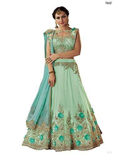 (Ethnicwear Latest Trendy Net Wedding Party Festival Bridesmaid Blue Zari Cord Embroidery Stone Work Beautiful Lehenga Choli )