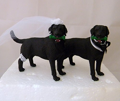 Wedding Reception Black Labrador Dogs Pet Party Cake Topper by Custom Design Wedding Supplies by Suzanne