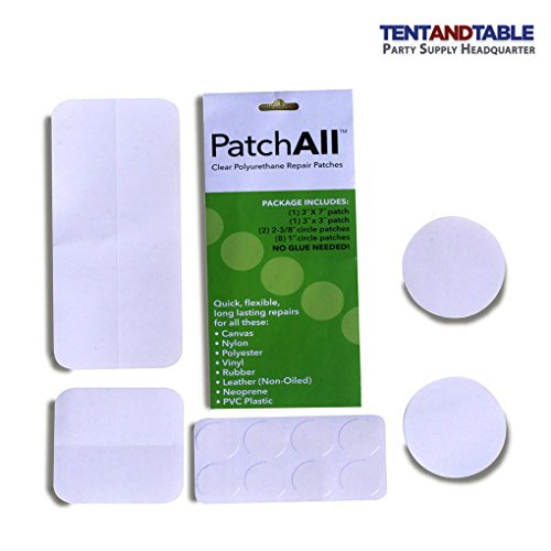 (Moose Supply PatchAll Kit Polyurethane Plastic Adhesive Patch Kit for Canvas, Nylon, Polyester, Vinyl, Rubber, Leather, Neoprene, TPU, and PVC Plastic Includes Multiple Patch Sizes)