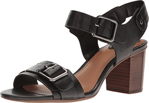 CLARKS Ralene Dazzle Womens Heeled Sandals Black Leather 6