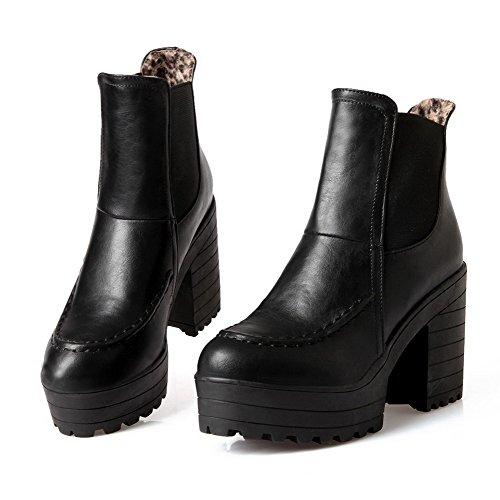 AllhqFashion Mujeres Pu Caña Baja Sólido Sin cordones Tacón Alto Botas Negro