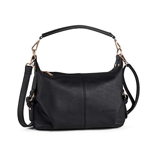 Small Hobo Handbag for Women Top Handle Crossbody Bag PU Leather Shoulder Purse Black + Katloo Nail Clipper