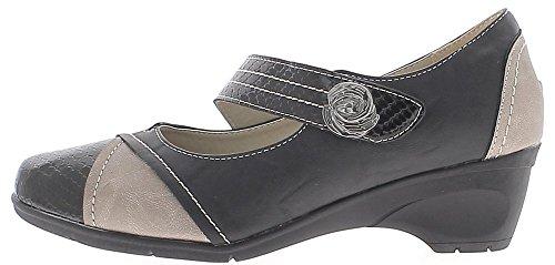 ChaussMoi Black Block DE 5 cm Cómodo Tacón Zapatos de Mujer