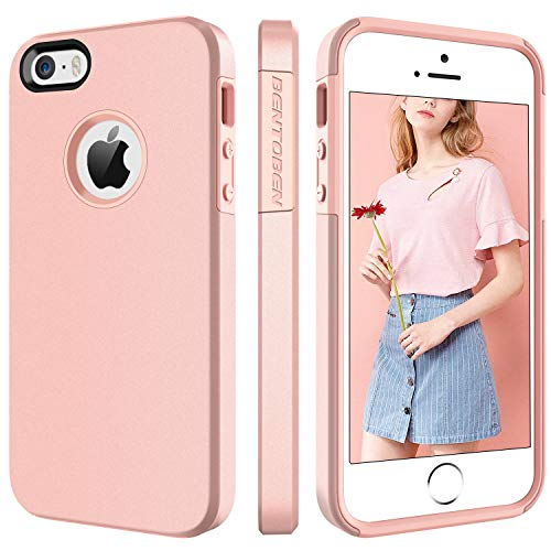 BENTOBEN Phone Case for Apple iPhone SE, iPhone 5S, iPhone 5, 2 in 1 Soft Hybrid TPU Bumper Hard PC Phone Protective Cover, Shockproof Heavy Duty Phone Cover for Women, Girls – Rose Gold
