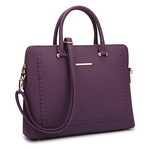MKY Women Slim Leather Briefcase Laptop Handbag Work Satchel w/Removable Shoulder Strap Dark Purple