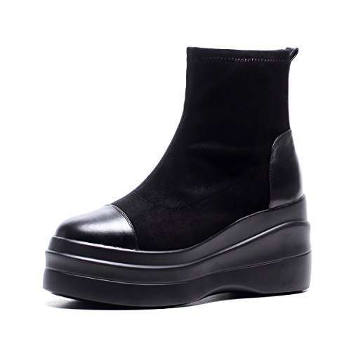MINIVOG Womens Round Closed Toe Boots Winter Warm Suede Flat Platform Sneakers 0KVvB