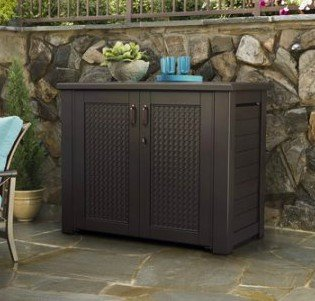Basketweave Patio Chair (Storage Shed, Outdoor, Patio Cabinet - Horizontal, Basketweave Pattern, Dark Teak Wood, Color Brown)